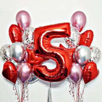 2 фонтана (хром+конфети) + красная цифра